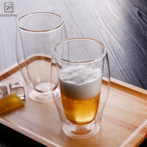 17oz Transparent Double Wall Glass Beer Cup Withstand High and Low Temperature