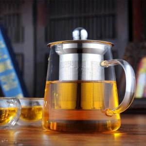 High Clear Heat Resistant Glass Tea Pot With Infuser