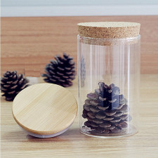 Handmade Glassware Straight-Sided Clear Glass Canister For Dry Food