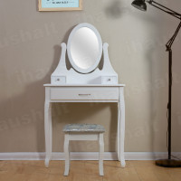 3 Drawers White Dressing Table With Oval Mirror & Stool Bedroom Makeup Desk Set
