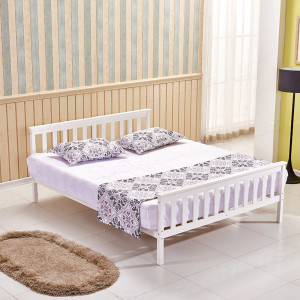200*152cm 5FT Kingsize Solid Wooden Bed Frame White Pine Bedstead With Slats