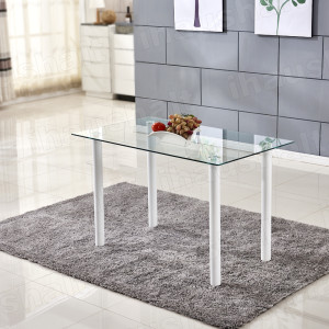 Modern Dining Table White Leg 8mm Clear Tempered Glass Top Dining Room Furniture