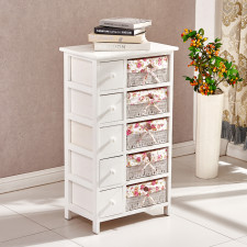 Shabby Chic Woven Wicker Basket Storage Cabinet Chest Of Drawer Bedroom Hall