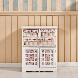 Shabby Chic Chest Of Drawers Storage Unit Wicker Basket Cabinet Cupboard Bedroom