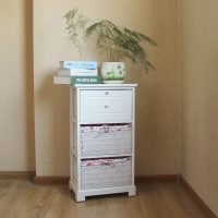 Drawer & Wicker Basket Wooden Cabinet Storage Units Cupboard White Bedside Table