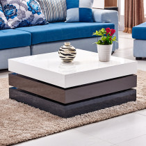 High Gloss Square Coffee Table 3 Layers White Grey Black MDF Home Living Room