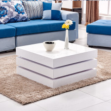 High Gloss Rotating Square Coffee Table Living Room Modern Design White Storage