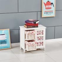 Wicker Basket Cabinet Wooden Frame Drawer Storage Cupboards Organizer Unit