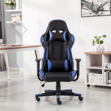 Black Blue Executive Racing Gaming Computer Office Chair PU Adjustable Lift Swivel Recliner L01702000104