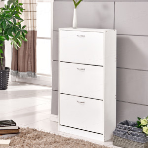 3 Drawers Shoe Cabinet Storage Cupboard Footwear Stand Rack Living Room White L01801101000