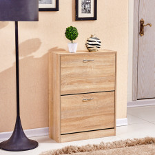 2 Drawers Shoe Cabinet Wood Storage Shelf Cupboard Footwear Stand Furniture New L02001100400