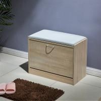 1 Drawer Shoe Wood Cabinet Storage Footwear Stand Shelf Cupboard PU Seat Stool L01801100100