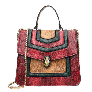 China fashion and colorful female pu hand bags set womens shoulder bag snake small square bag