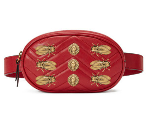 Hot selling fashion leather ladies inset lions studded metal logo belt accessories waist bag fanny pack