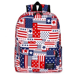 Unisex Casual Student Shoulders Canvas Soft Fabric Modern Printing Country Flag Backpack