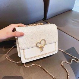 Metal Heart Decoration Wholesale Pu Women Corss Shoulder Handbag